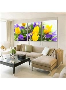 Pretty Yellow Tulips 3-Piece Crystal Film Art Wall Print