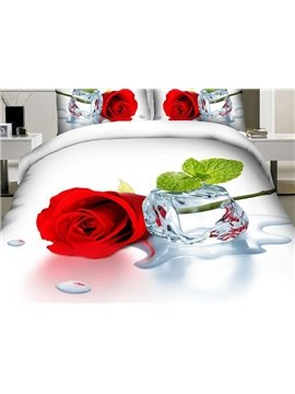 Amazing Red Rose 4-Piece Polyester Duvet Cover Sets