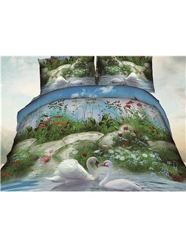Swan and Waterfall Print 4-Piece Polyester Duvet Cover Sets