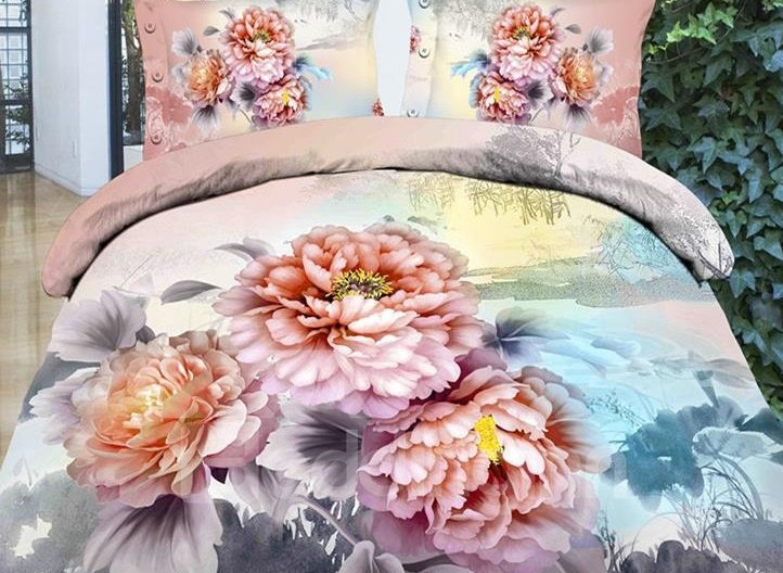 Peony Flower Print 4-Piece Polyester Duvet Cover Sets