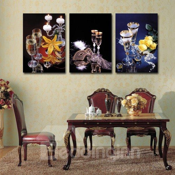 Masquerade Wine Glasses 3-Piece Crystal Film Art Wall Print
