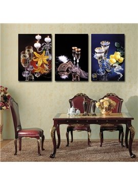 Masquerade Wine Glasses 3-Piece Crystal Film Art Wall Print