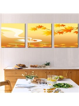 Popular Maple Leaves 3-Piece Crystal Film Art Wall Print