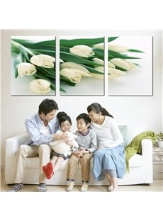 Charming White Tulips 3-Piece Crystal Film Art Wall Print