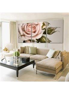 Elegant Pink Rose 3-Piece Crystal Film Art Wall Print