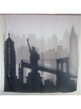 Black And White Statue Of Liberty 3D Shower Curtains