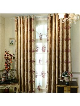 Luxury Floral Embossed Jacquard Grommet Top Curtain