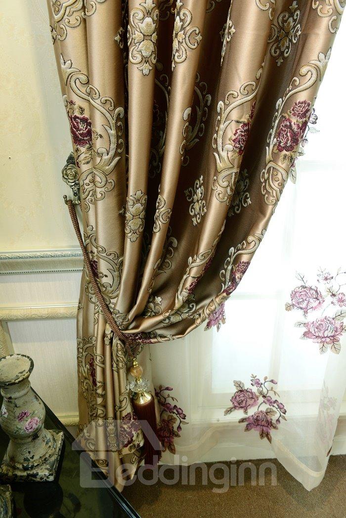 Luxury Floral Embossed Jacquard Grommet Top Curtain