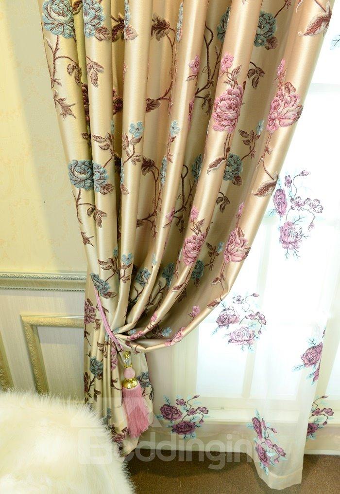 Elegant Luxury Peony Embossed Jacquard Grommet Top Curtain