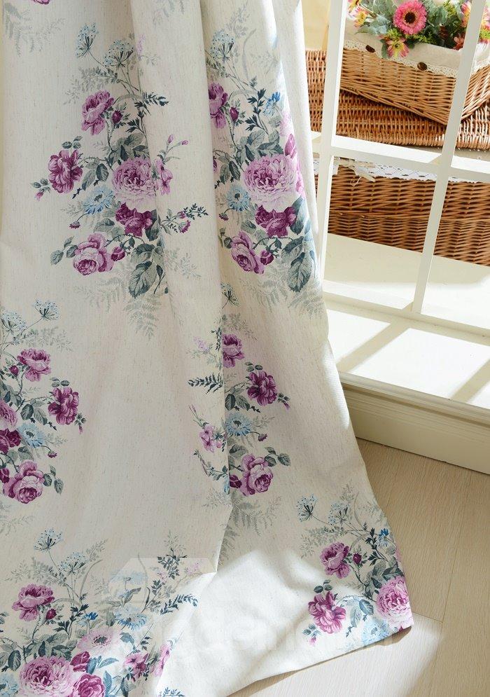 Beautiful Floral Ptinted Cotton Linen Grommet Top Curtain