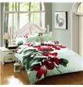 Bright Red Flower Print 4-Piece Cotton Duvet Cover Sets
