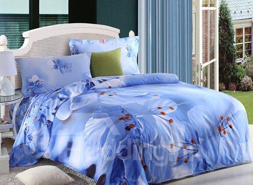 Fragrant Blue Flower Print 4-Piece Cotton Duvet Cover Sets