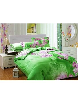 Pink Flower with Green Background 4-Piece Cotton Duvet Cover Sets