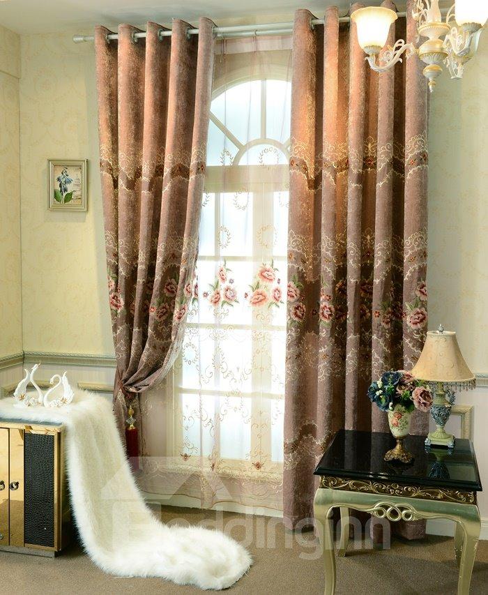 Elegant Floral Print High Shading Degree  Polyester Grommet Top  Curtain