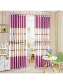 Beautiful Pink Floral Embroidery Polyester Cotton Grommet Top Curtain