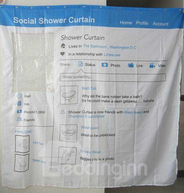 Creative Blue Facebook  waterproof  Shower Curtains