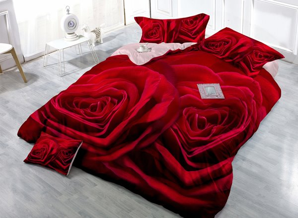High-Definition Digital Print 4-Piece Red Rose Satin Cotton Duvet Cover Sets 11346902