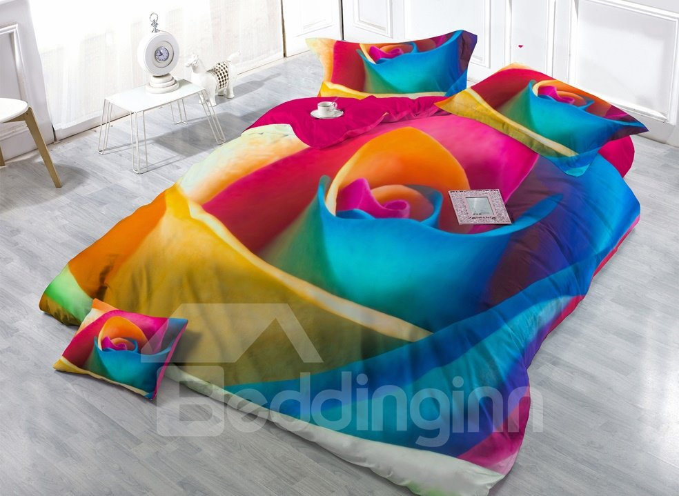 Big Colorful Rose Digital Print 4-Piece Satin Cotton Duvet Cover Sets 11346904