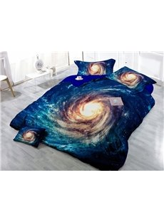 Bright Nebula Digital Print 4-Piece Satin Cotton Duvet Cover Sets