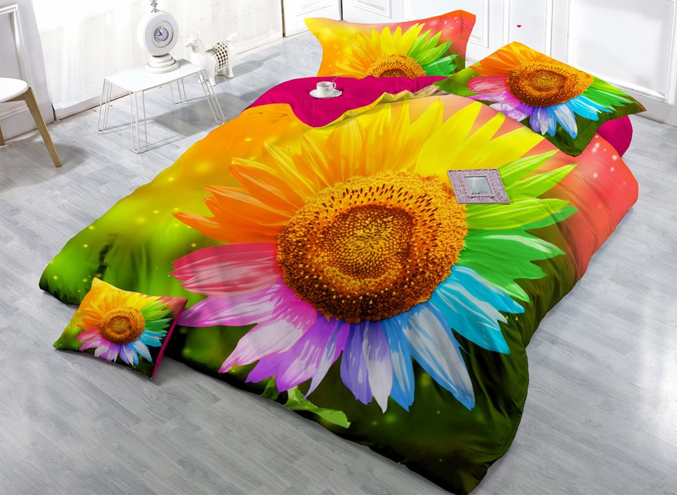 Sunflower with Colorful Petals Digital Print 4-Piece Cotton Duvet Cover Sets 11347421