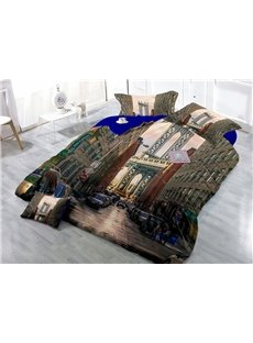 New York City Digital Print 4-Piece Cotton Duvet Cover Sets
