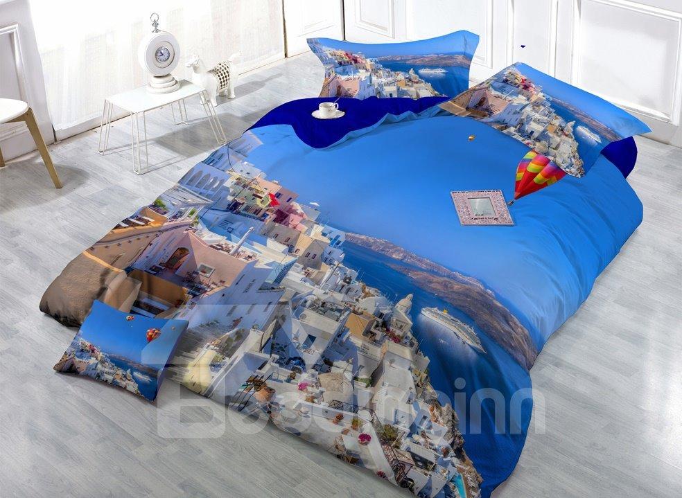 Cozy Coastal City Digital Print 4-Piece Cotton Duvet Cover Sets 11347519