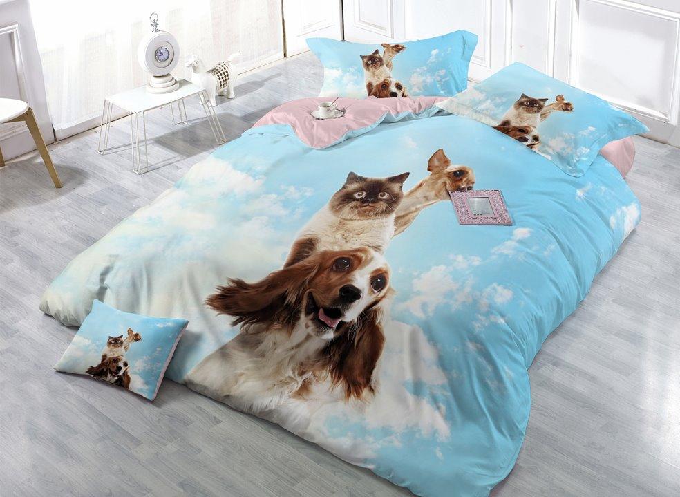 Cute Cat and Dog Digital Print 4-Piece Cotton Duvet Cover Sets
