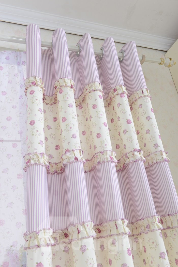 Pretty Pink Floral Print Polyester Cotton Grommet Top Curtain