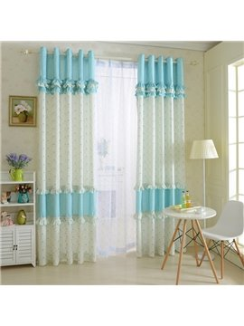 Elegant Blue Floral Print Polyester Cotton Grommet Top Curtain