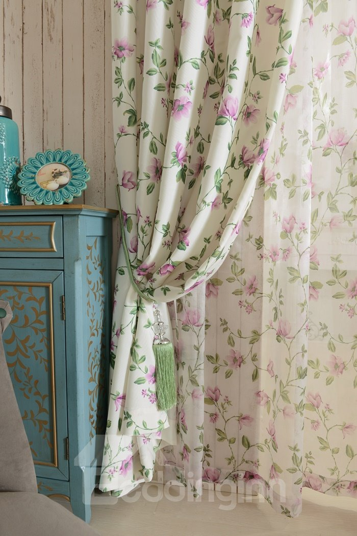 Lovely Flower Printing Polyester Cotton Grommet Top Curtain