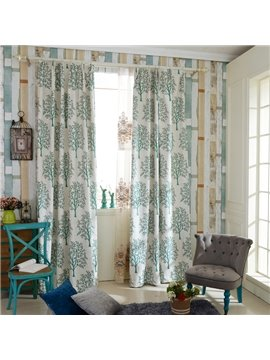 Fresh Green Tree Pattern Polyester Cotton Double Pinch Pleat Curtain