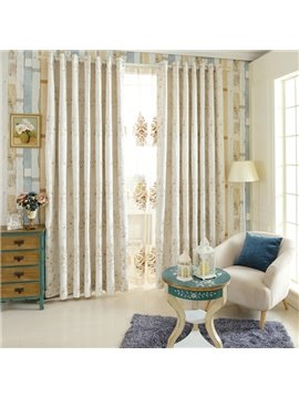 Stylish Tree Pattern Polyester Cotton Grommet Top Curtain