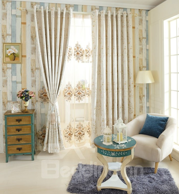 Stylish Tree Pattern Polyester Cotton Grommet Top Curtain