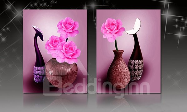 Blooming Flowers in Vase 2-Piece Crystal Film Art Wall Print
