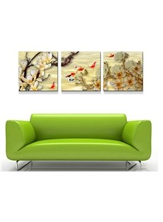 Golden Fish and Flowers 3-Piece Crystal Film Art Wall Prints