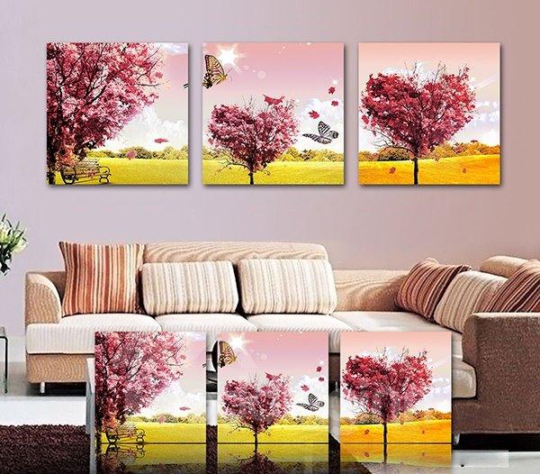 Sunny Autumn Scenery Maple Tree 3-Piece Crystal Film Art Wall Print