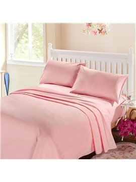 Exquisite Workmanship Bright Pink 4-Piece Cotton Sheet Set