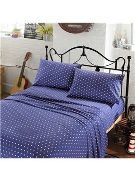 Little White Dots Printing 4-Piece Cotton Sheet Set