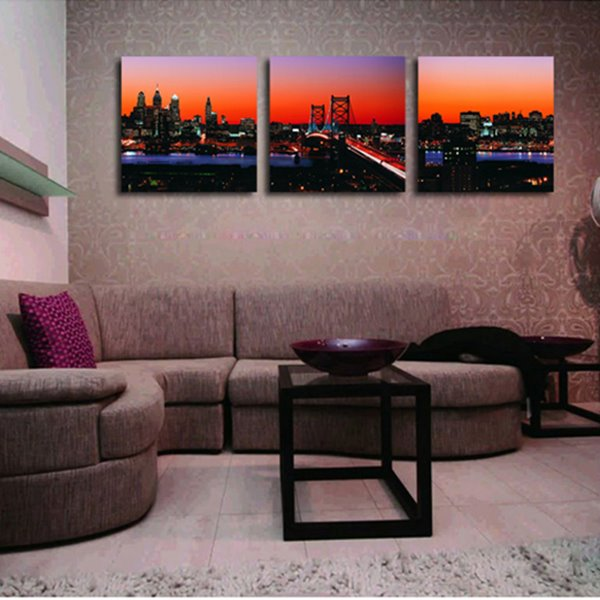 Modern City Skyline in Dusk 3-Piece Crystal Film Art Wall Print