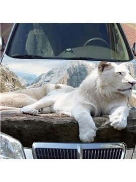 The Great Mountains And White Lion Printing Car Sticker
