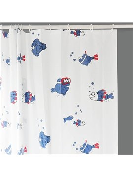 White Background Diving Lovely Fish Waterproof Shower Curtains
