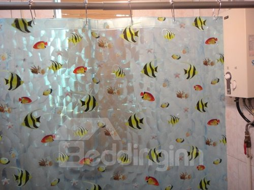 Little Fish Waterproof Environmental Protection 3D Shower Curtains