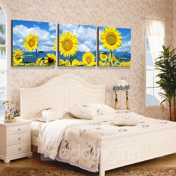 Bright Sunflowers 3-Piece Crystal Film Art Wall Print
