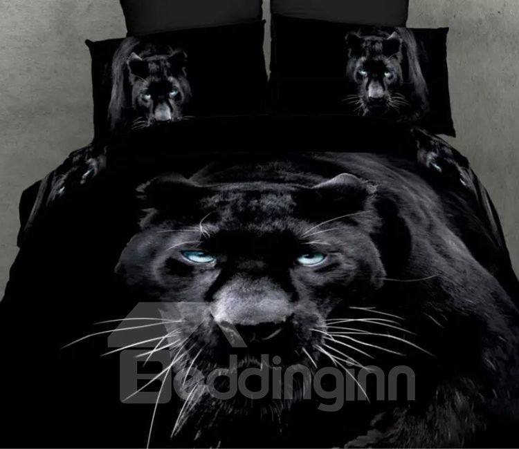 Impressing Panther Print 4-Piece Cotton Duvet Cover Sets