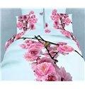 Red Plum Flower Print 4-Piece Cotton Duvet Cover Sets