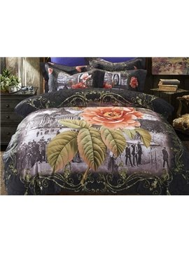 Paris Buliding and Flower Print 4-Piece Cotton Duvet Cover Sets
