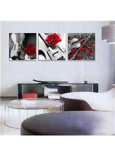 Romantic Roses and Violin 3-Piece Crystal Film Art Wall Print