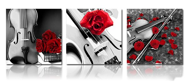 Romantic Roses and Violin 3-Piece Crystal Film Art Wall Print