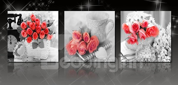 Romantic Roses 3-Piece Crystal Film Art Wall Prints