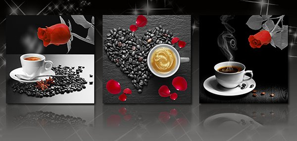 Roses and Coffee 3-Piece Crystal Film Art Wall Prints